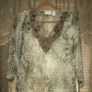 Chico's bead embezzled animal print top
